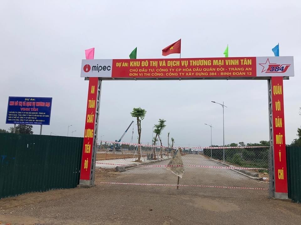 Cổng vào công trình xây dựng Mipec Tràng An
