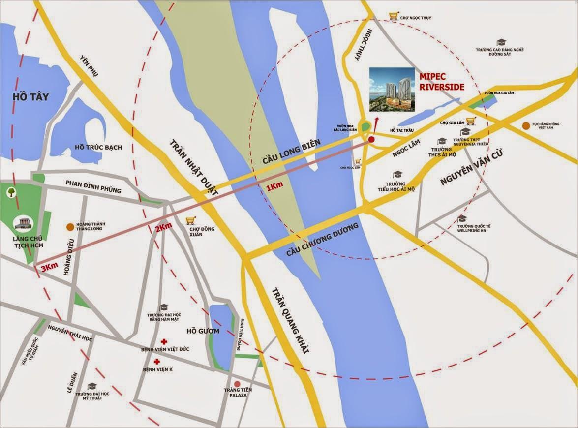 Vị trí dự án Mipec Riverside Long Biên