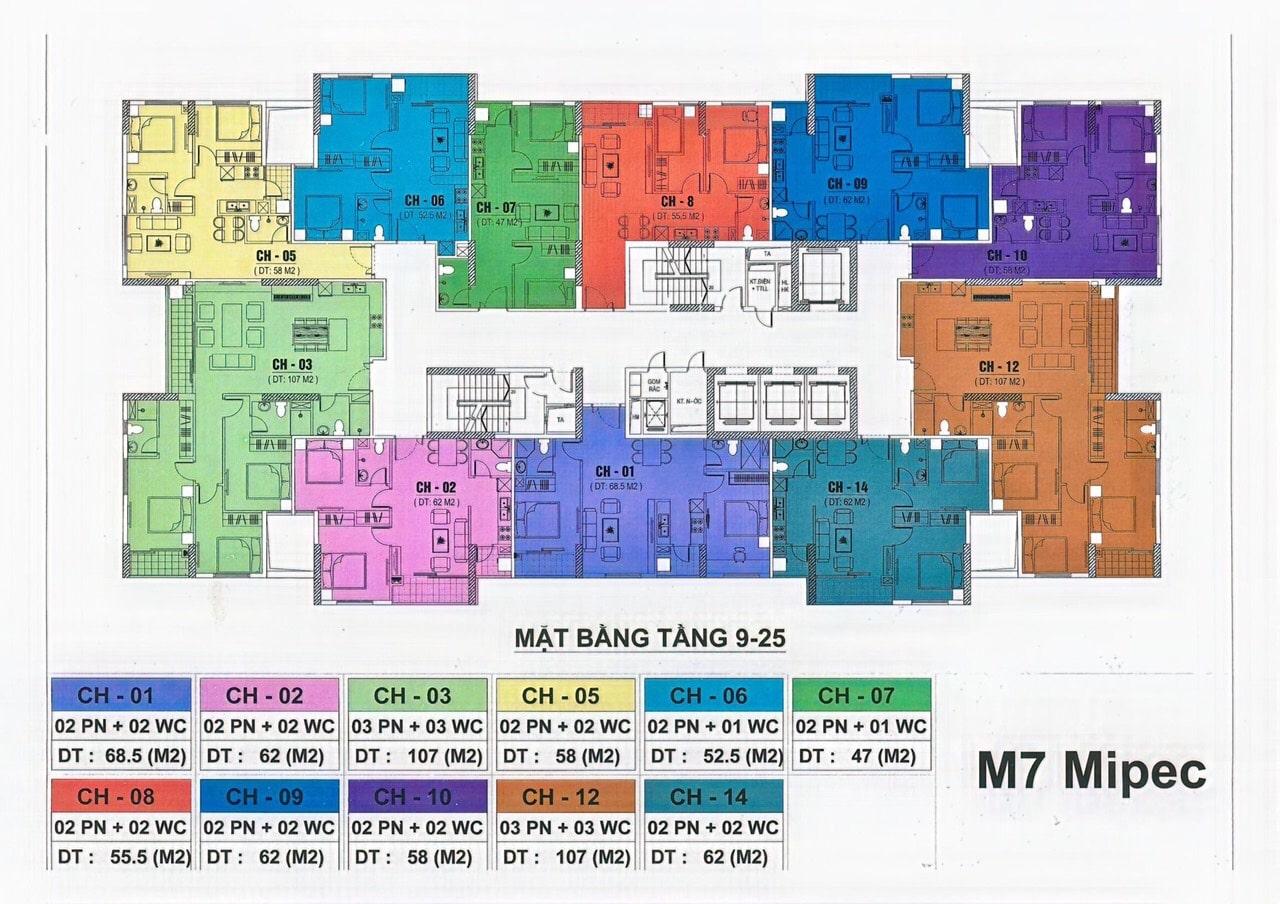 Mặt bằng tầng điển hình tòa Mipec City View M7